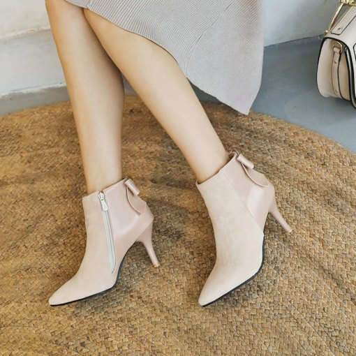 Pointed Toe Stiletto Heel Bowknot Girlish Women's Ankle Boots
