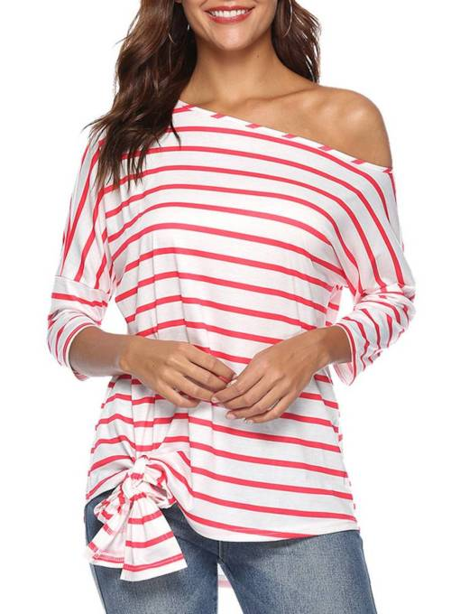 One Shoulder Off Lace Up Stripe Women's T Shirt