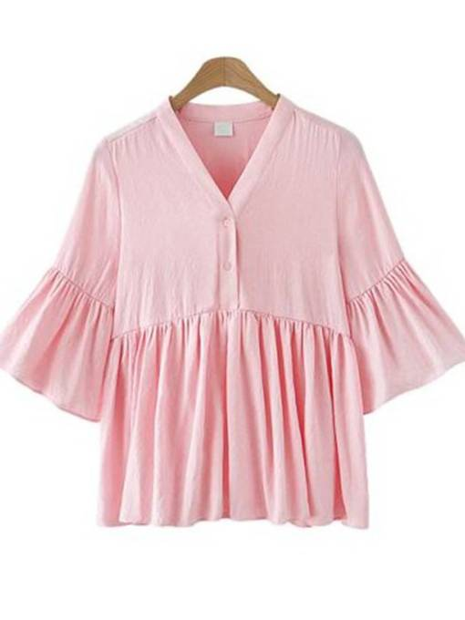 Ruched Pure Color Ruffle Sleeve Peplum Women's Blouse