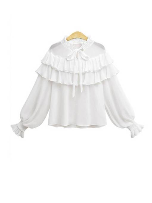 Falbala Stand Collar Ruffles Solid Color Women's Blouse