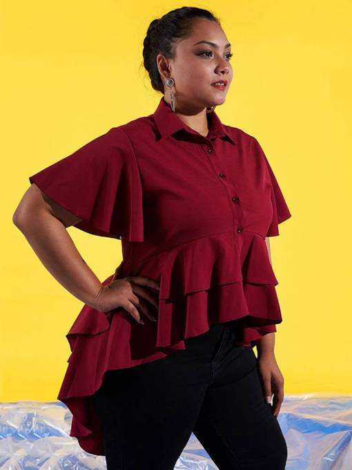 Mid Length Ruffle Sleeve Single-Breasted Plus Size Women's Shirt