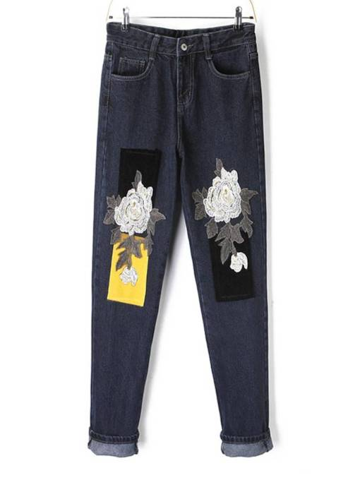 Floral Embroidery Patchwork High Waist Women's Jeans