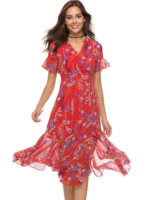 Short Sleeve Floral Prints Travel Look Dress