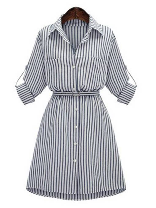 Long Sleeve Belt Button Stripe Day Dress