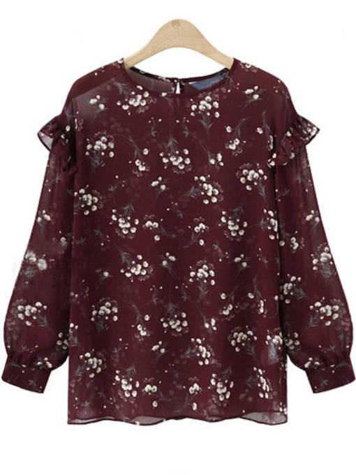 Sheer Floral Frilled Chiffon Women's Blouse