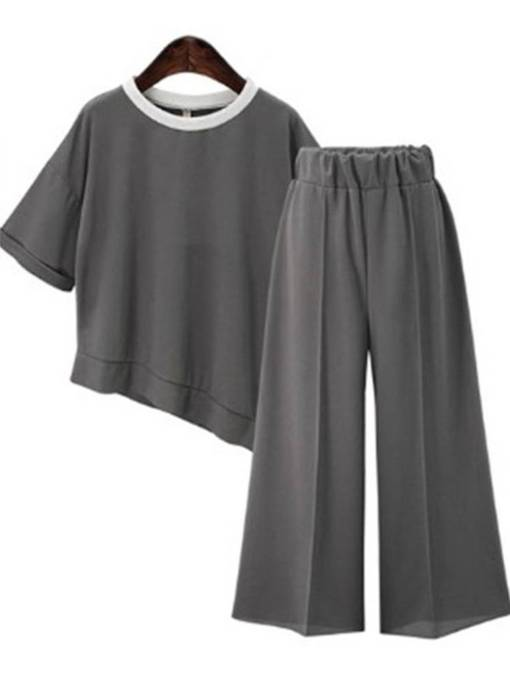Asymmetric Patchwork Tee and Cropped Pants Women's Two Piece Set