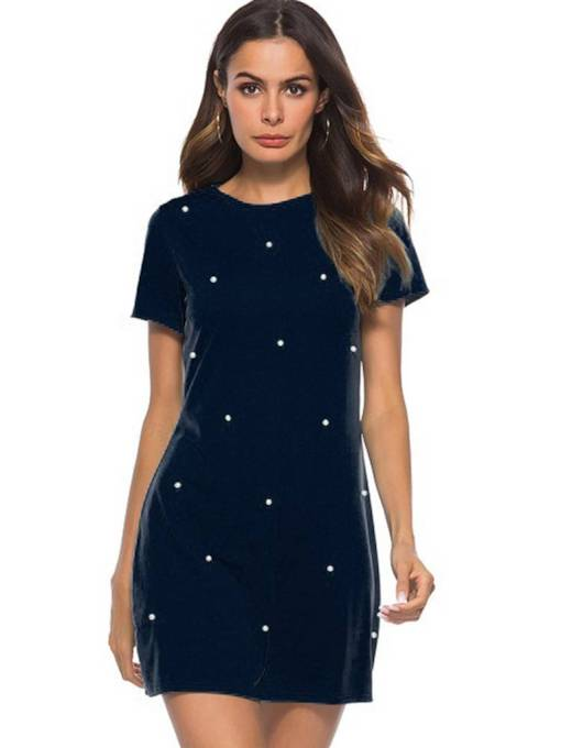Short Sleeve Bead Casual Day Dress