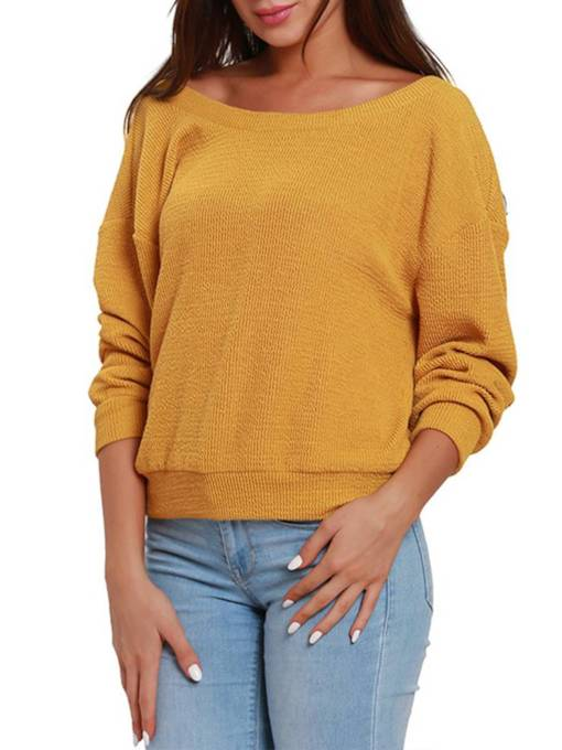 Boat Neck Solid Color Backless Women's Sweater