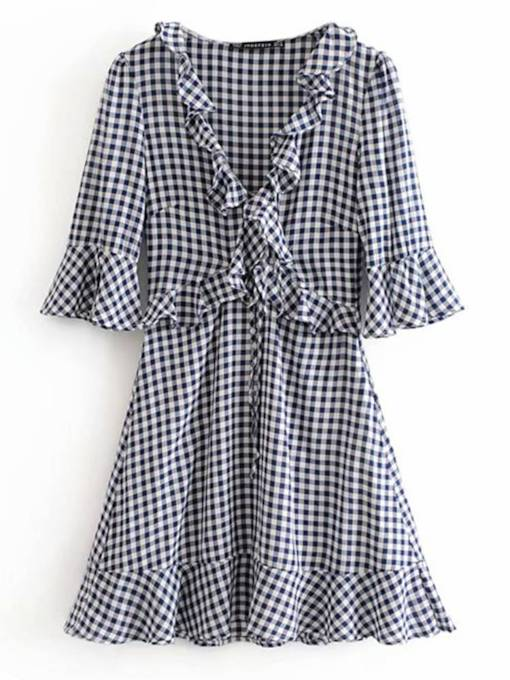 Flare Sleeve A-Line Women's Day Dress