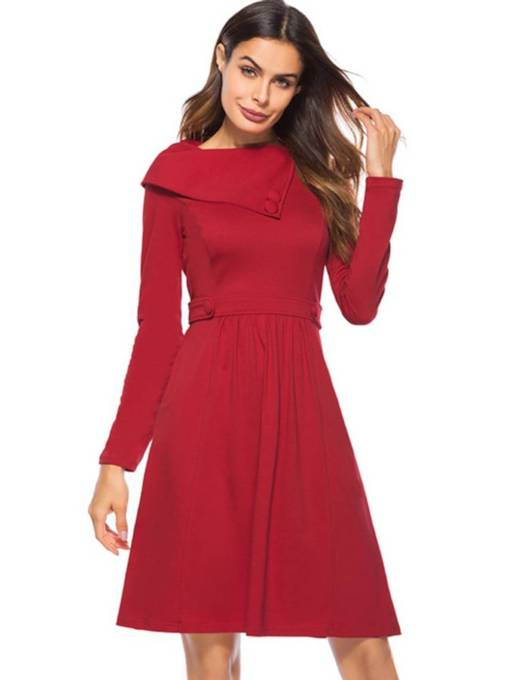 Long Sleeve Button Vintage Day Dress