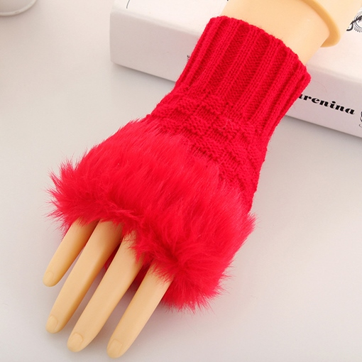 Pure Color Women's Knitted Fingerless Mitten Gloves