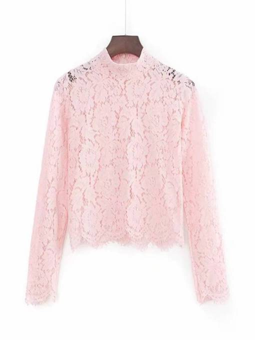Stand Collar Lace Patchwork Women's Blouse