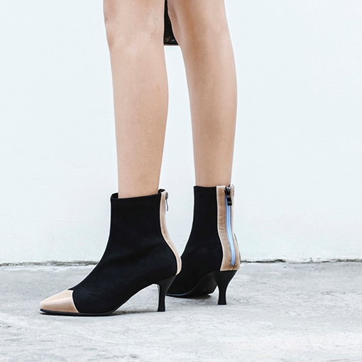 Square Toe Stiletto Heel Suede Back Zip Chic Women's Ankle Boots