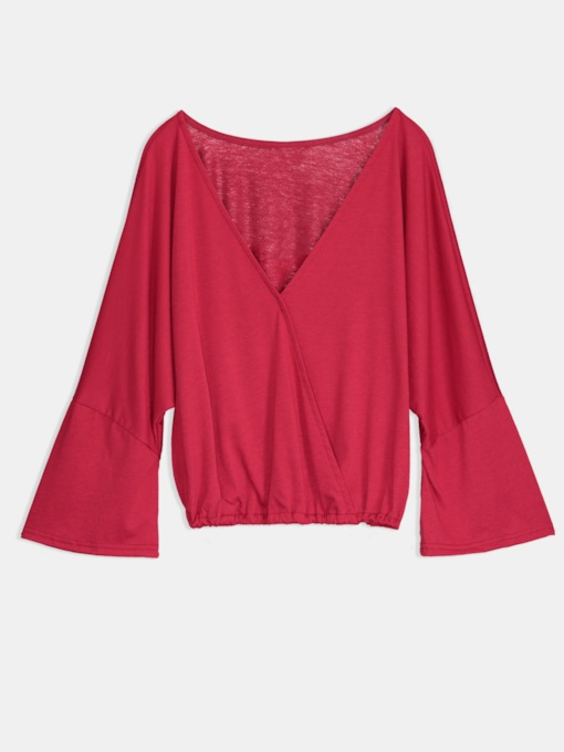 Plain V Neck Bell Sleeve Women's Blouse