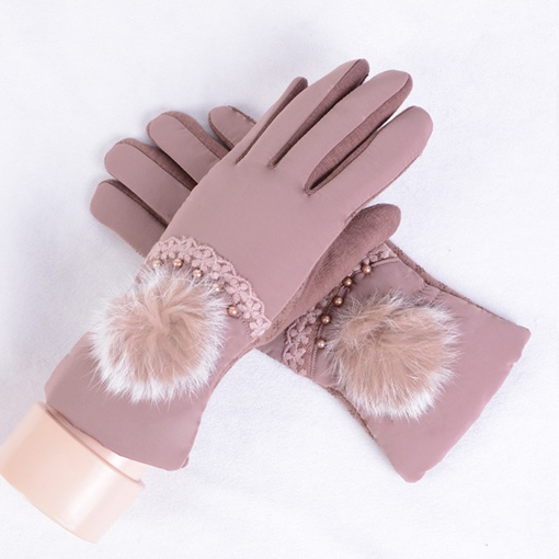 Rabbit Fur Ball Decorated Winter Warm Gloves