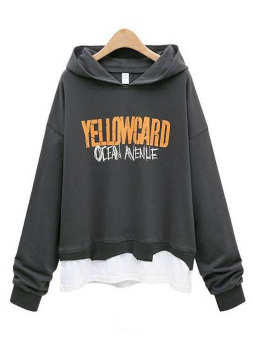 Fake Two Pieces Letter Printed Women's Hoodie