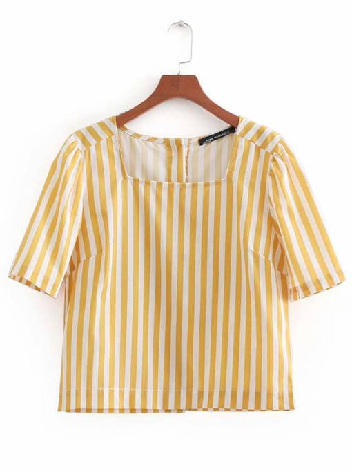 Square Neck Single-Breasted Women's Blouse