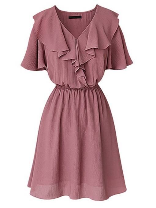 Short Sleeve Ruffle Neck A-Line Day Dress