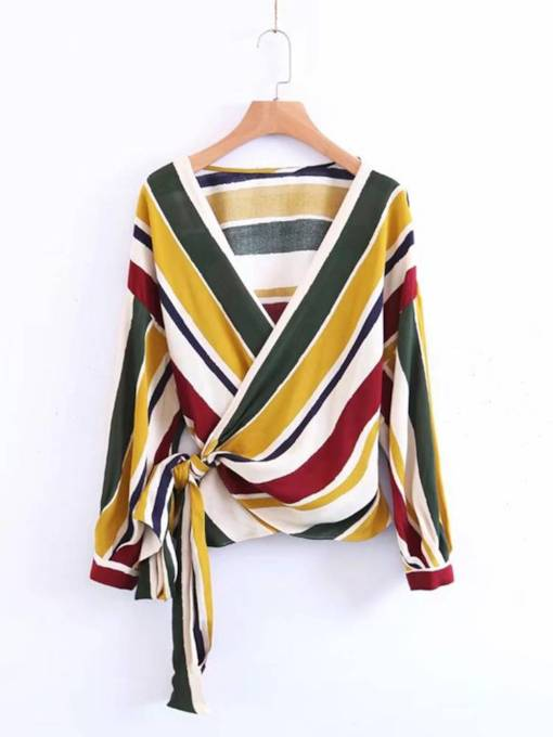 Stripe Print Color Block Wrap Top Lace Up Women's Blouse
