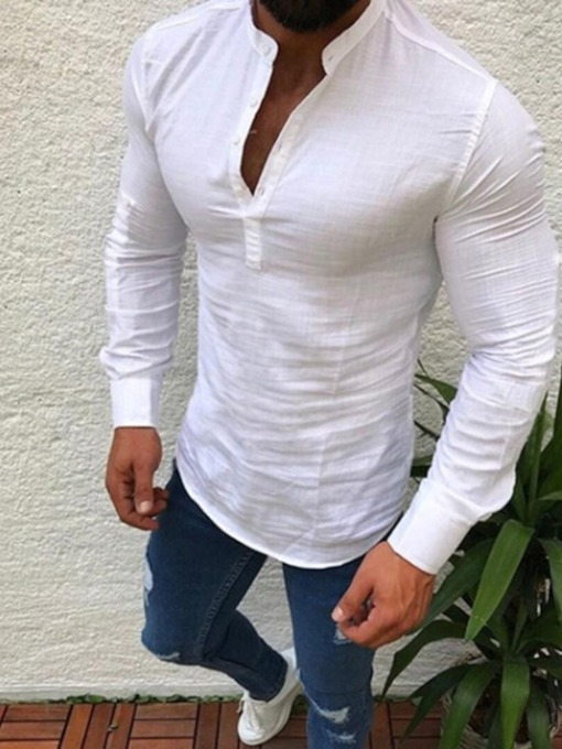 V-Neck Cotton Breathable Plain Fall Long Sleeves Slim Fit Men's Shirt