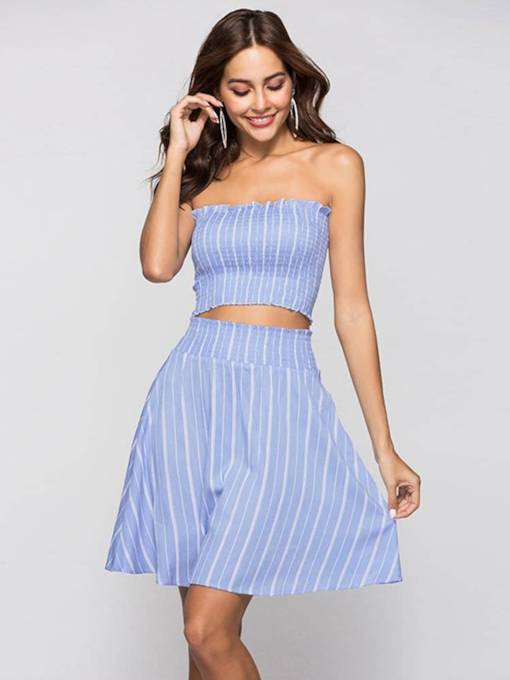 Striped Elastic Tube Top with Skirt Women's Two Piece Set
