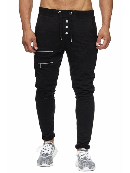 Button Decorated Lace-up Men's Pencil Pants