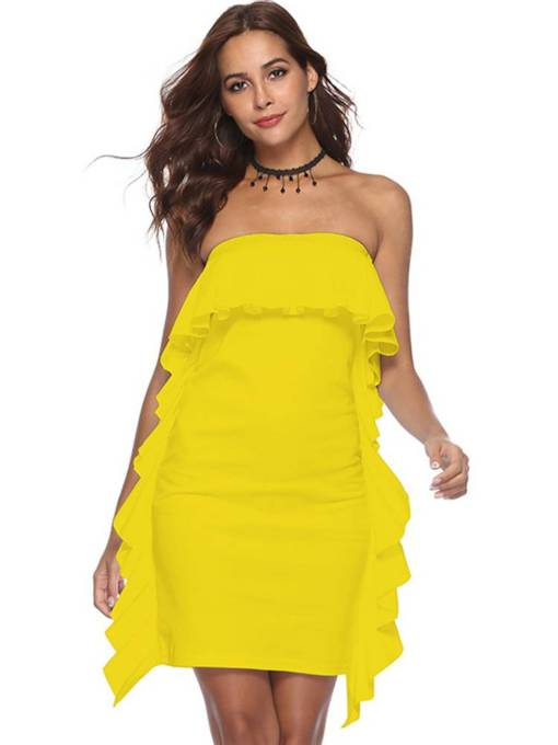 Falbala Plain Bodycon Sleeveless Dress