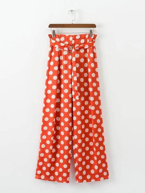 Polka Dot Elastic Waist Wide Legs Women's Casual Pants