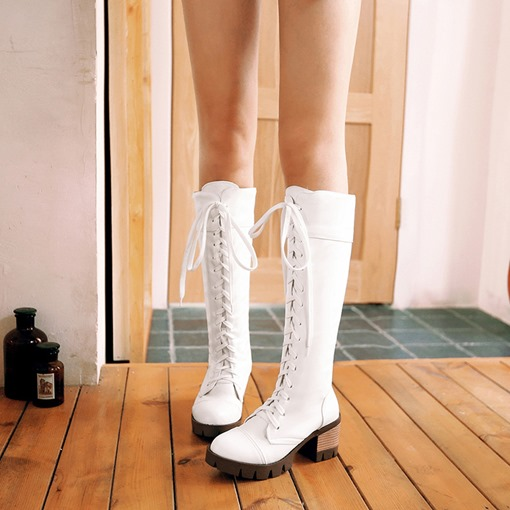 Lace-Up Front Chunky Heel Knee High Trendy Martin Boots for Women
