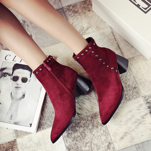 Suede Pointed Toe Chunky Heel Side Zipper Rivet Women's Ankle Boots