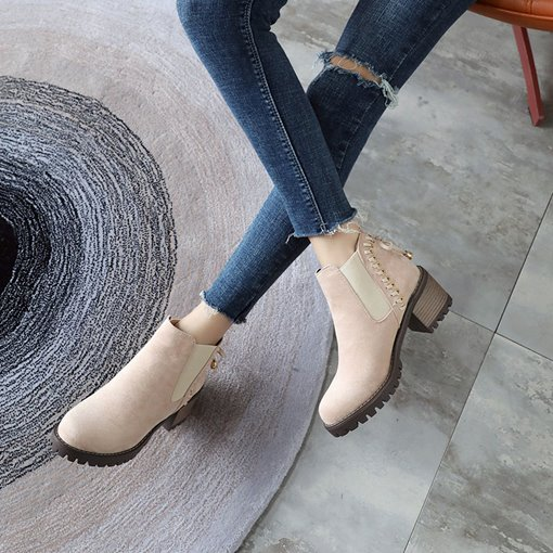 Suede Elastic Block Heel Sewing Bowknot Ladylike Women's Ankle Boots