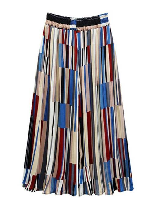 Color Block Printed Wide Legs Women's Cropped Pants