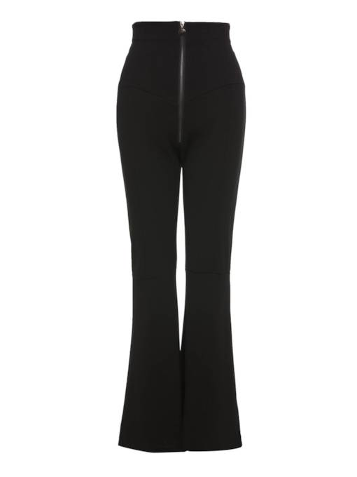 Plain Zipper BellBottom Women's Casual Pants
