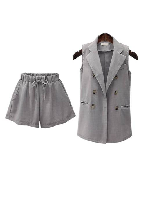 Linen Blazer Vest and Shorts Women's Two Piece Set