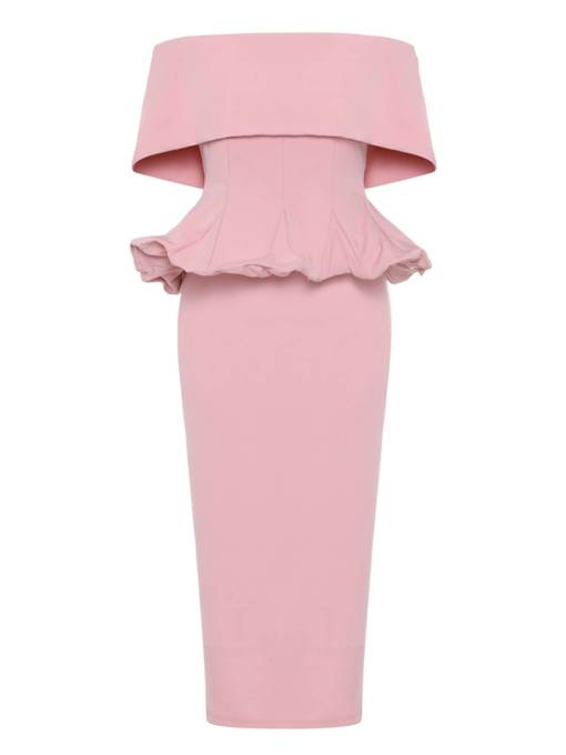 Plus Size Pink Slash Neck Elegant Back Zip Dress