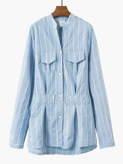 Mid Length Stripe Slim Button Down Women's Shirt