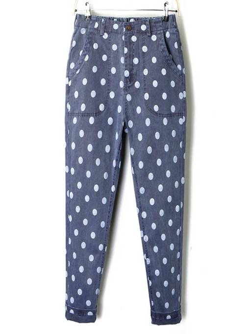 Polka Dots Pocket Patchwork Women's Jeans
