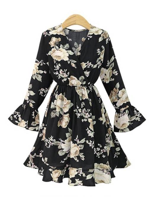 Long Sleeve Lace-Up Floral Day Dress