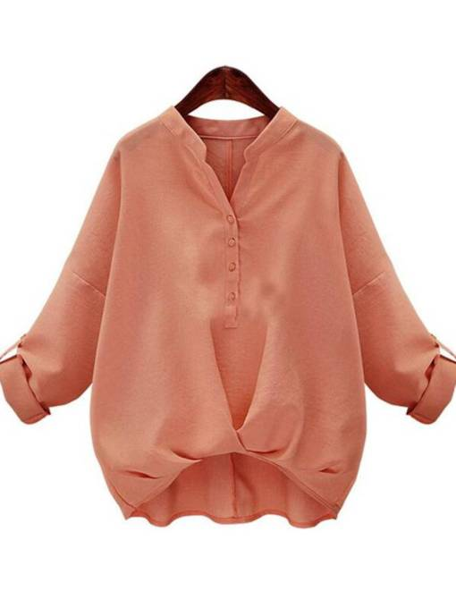 Twist Front Roll Tab Sleeve Pure Color Women's Blouse
