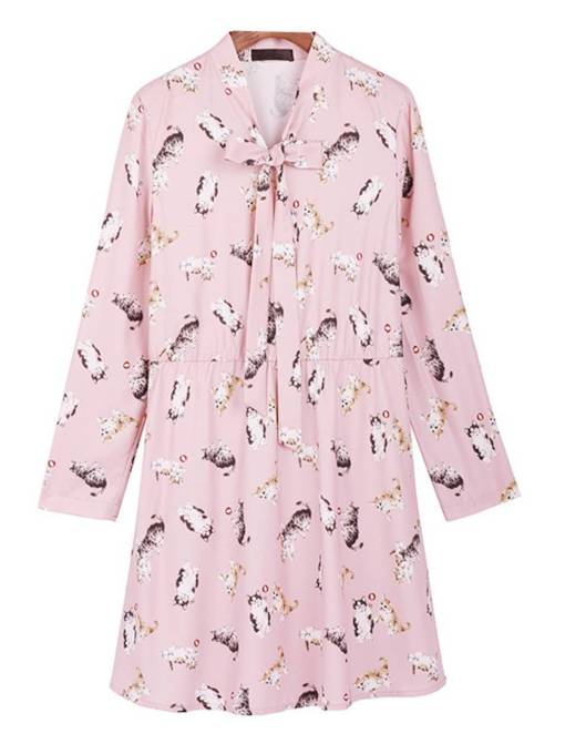 Belt Neck Long Sleeve Prints Day Dress