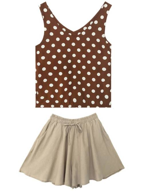 Polka Dots Vest and Shorts Women's Two Piece Set