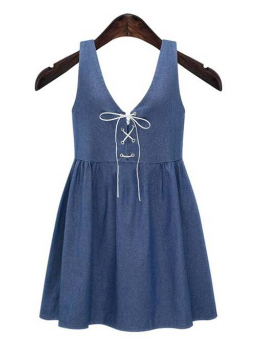V-Neck Casual Sleeveless Denim Day Dress