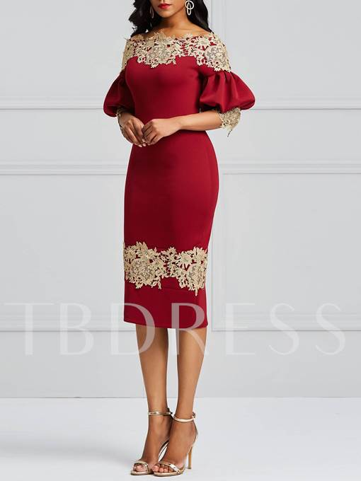 Off Shoulder Lanten Sleeve Lace Elegant Dress