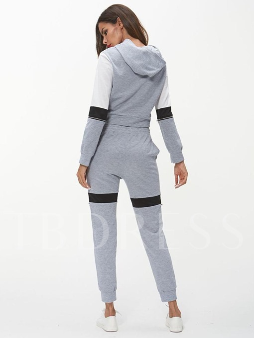Color Block Long Sleeve Hoodie and Pants Women's Two Piece Set