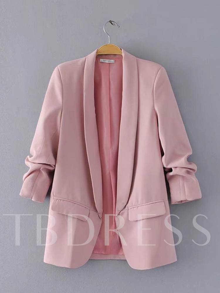 Pleated Open Front Candy Color Women's Blazer
