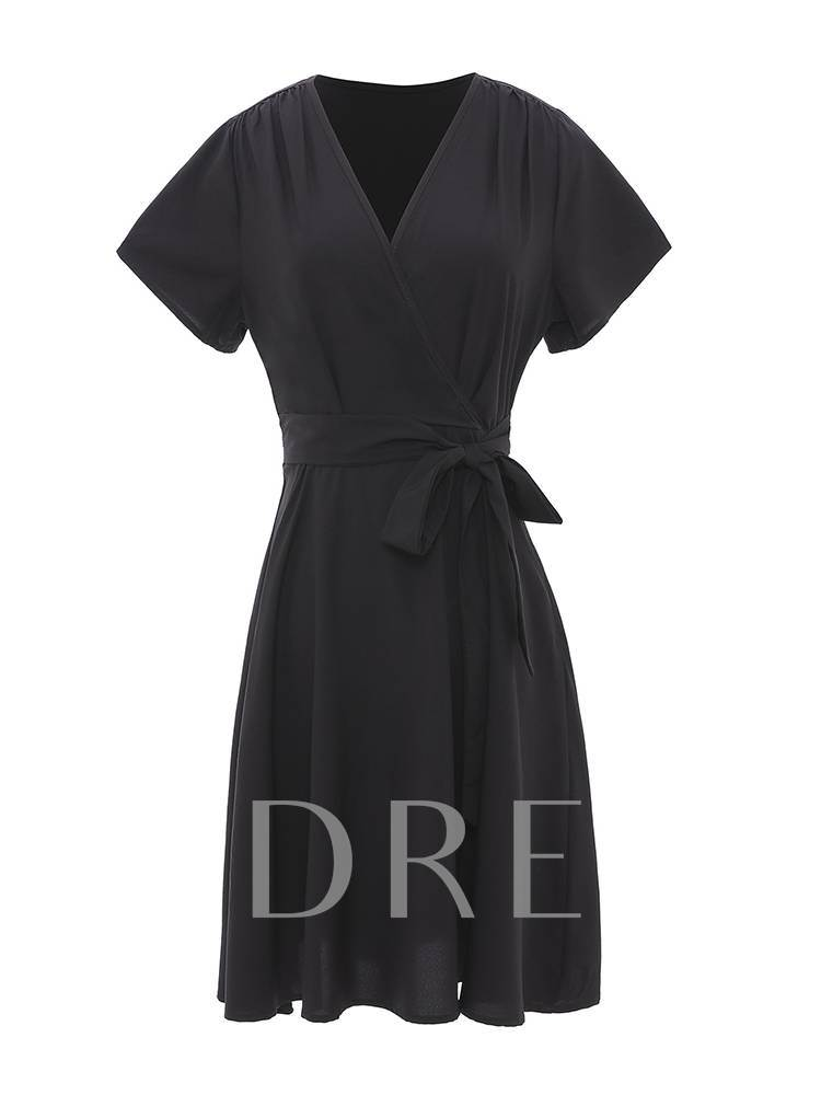V-Neck Short Sleeve Plain Belt Wrap Dress