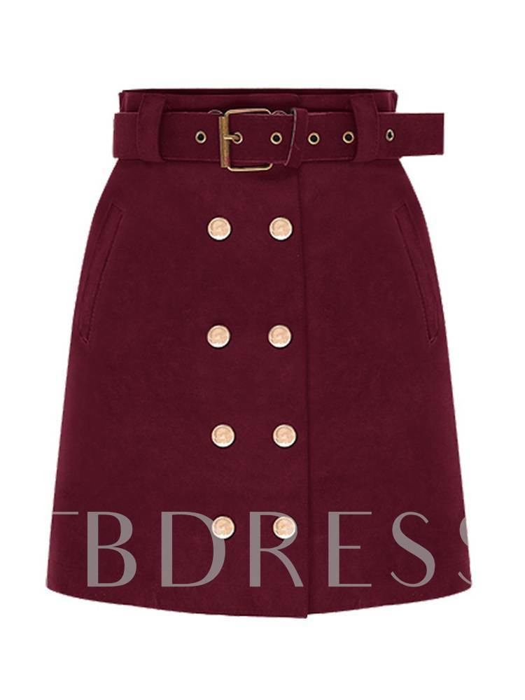 Double Button Self Belted Women's Bodycon Skirt