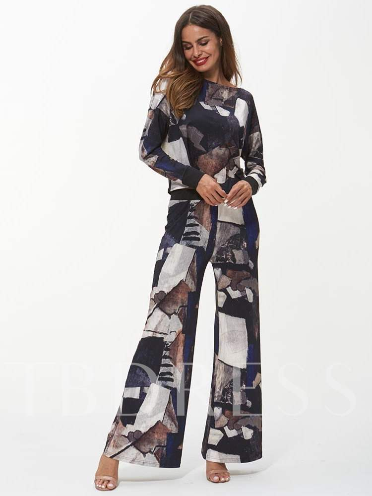 Buy Color Block Patchwork Long Sleeve Top and Pants Women's Two Piece Set, Fall, 13356637 for $18.38 in TBDress store