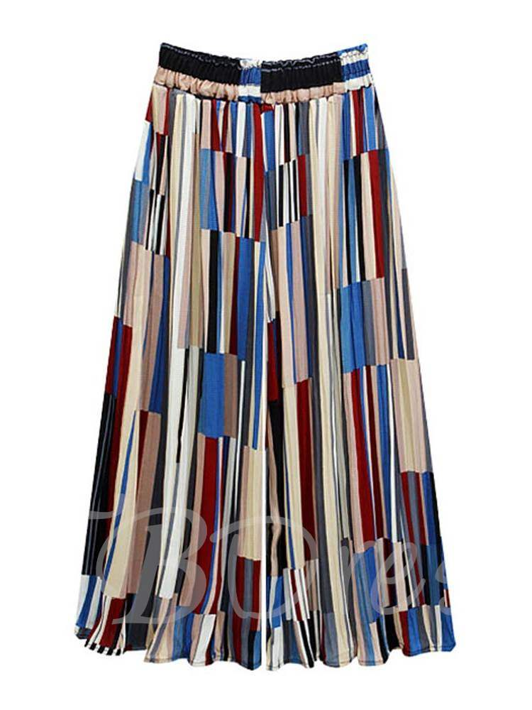 Buy Color Block Printed Wide Legs Women's Cropped Pants, Summer, 13350234 for $19.49 in TBDress store