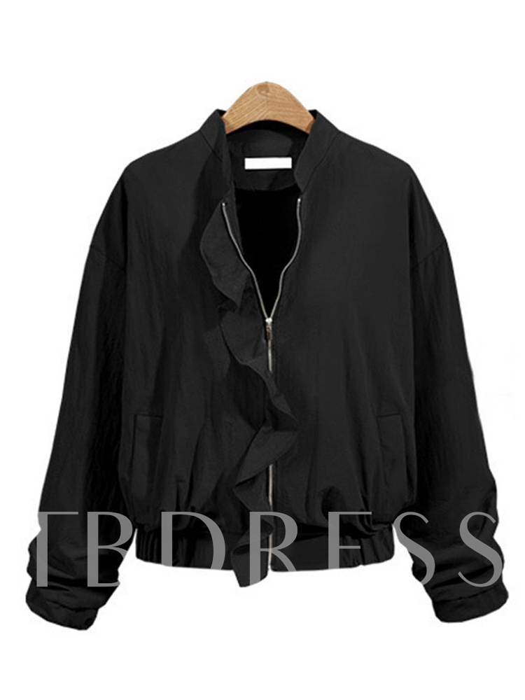 Buy Falbala Stand Collar Zipper Up Women's Jacket, Spring,Fall, 13349261 for $19.45 in TBDress store